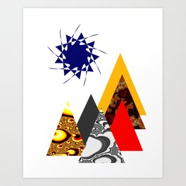 Geometric print minimalist scandinavian mountains abstract Art Print