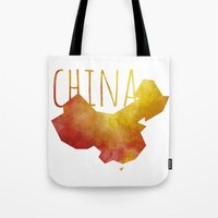 china Tote Bags featuring China by Stephanie Wittenburg