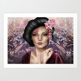 geisha by gaelle faery Art Print