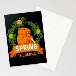 Spring Is Coming Groundhog Summer Animal Woodchuck Stationery Cards