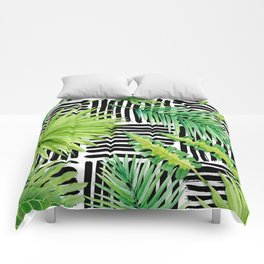 Tropical Leaves Watercolor on Black and White Pattern Comforters