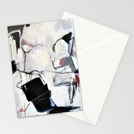 Many Road Abstract Contemporary Artwork Lines Marks Pink Black White Stationery Cards