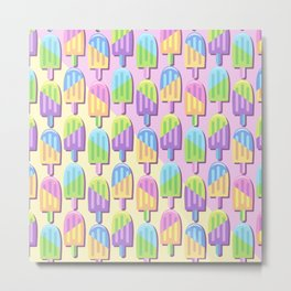 Ice Lollipops Popsicles Summer Punchy Pastels Colors Pattern Metal Print