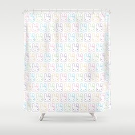 Kawaii Pastel Bunny Bows Shower Curtain