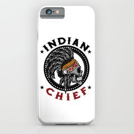 Indian Chief Warrior Skull Is Ready For Battle With His Feathered Headdress T-shirt Design Tribe iPhone Case