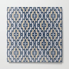Tribal Diamond Pattern in Navy, Tan and Gray Metal Print