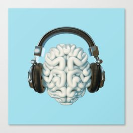 Mind Music Connection /3D render of human brain wearing headphones Canvas Print