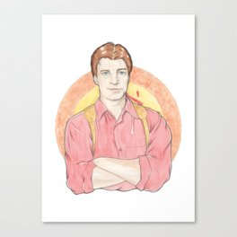 Malcolm 'Mal' Reynolds of Firefly Watercolor Portrait Illustration Canvas Print