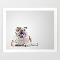 Bulldog with a Big Tongue Illustration Art Print
