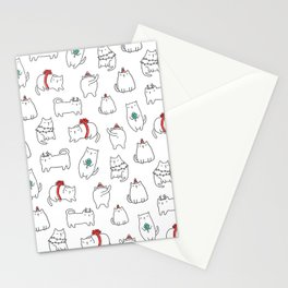 Fat Christmas cats Stationery Cards
