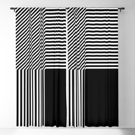 Geometric abstraction, black and white Blackout Curtain