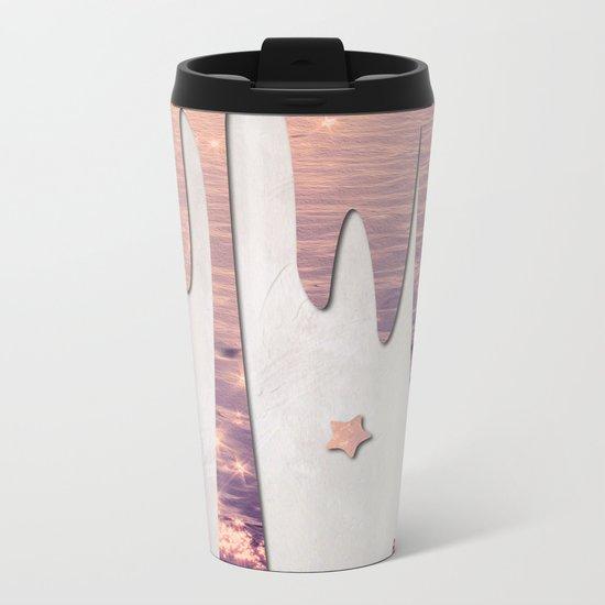 Glittery Purple Ocean Dripping on Grunge White Wall Metal Travel Mug