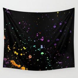 Rainbow Splatter on Black Wall Tapestry
