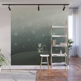 Small winged polka-dotted beige cat and stars Wall Mural
