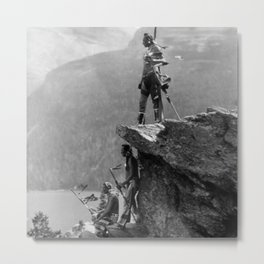 Eagle's Lookout, Blackfoot tribe members, Glacier Park, Montana, 1913 black and white photography Metal Print