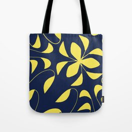 Leafy Vines Yellow and Navy Blue Tote Bag