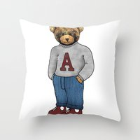 teddy bear Throw Pillows featuring teddy bear by ulas okuyucu