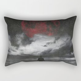 retreat - surreal and dark seascape with red moon Rectangular Pillow