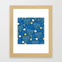Hanukkah Menorah Pattern Framed Art Print
