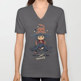 The Shortening Hat // Chibi Wizard, Fantasy, Magic Unisex V-Neck