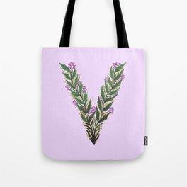 Leafy Letter V Tote Bag