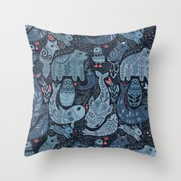 Arctic animals. Polar bear, narwhal, seal, fox, puffin, whale Throw Pillow