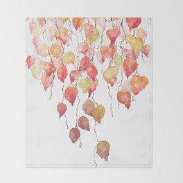 orange red crimson glory vine leaf watercolor Throw Blanket