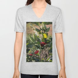 Milk weed and red berries Unisex V-Neck