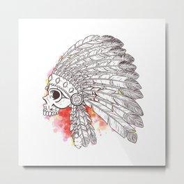 Indian Skull with watercolor Metal Print