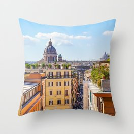 ROME the Streets:  Rooftop View of Rome, Italy Throw Pillow
