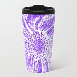 White Flower On Purple Crayon Travel Mug