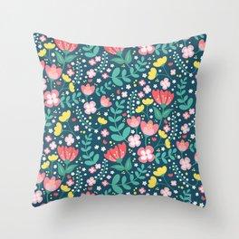 Flower Lovers - Dark Blue Throw Pillow