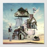 house Canvas Prints featuring house by Кaterina Кalinich