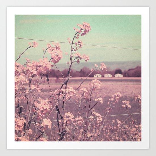 Sweet Spring (Teal Sky, Soft Pink Wildflowers, Rural Cottage) Art Print