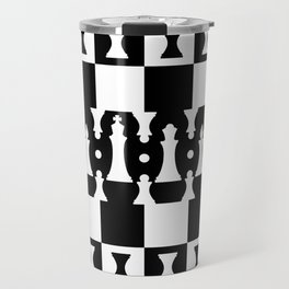 Chess Pieces Pattern - black and white Travel Mug