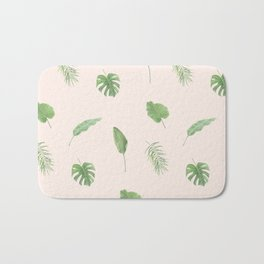 Tropical Leaves Botanic Print (Pink) Bath Mat