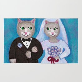 Bride and Groom Cats Rug