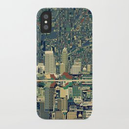 indianapolis city skyline green iPhone Case