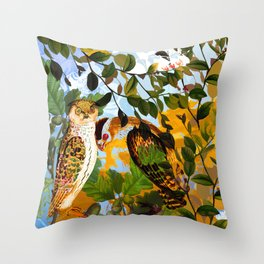 Two owls Throw Pillow