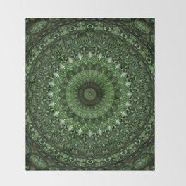 Mandala in olive green tones Throw Blanket