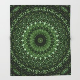 Mandala in olive green tones Throw Blanket