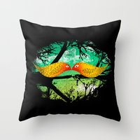 mustache Throw Pillows featuring mustache by sustici