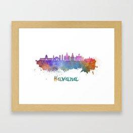Havana V2 skyline in watercolor Framed Art Print
