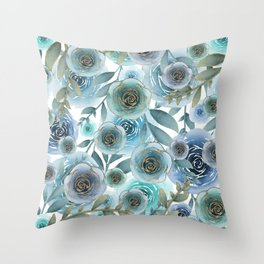 Watercolor Roses Golden Blues Throw Pillow