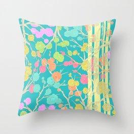 Bright Cherry Blossom Stripe Throw Pillow
