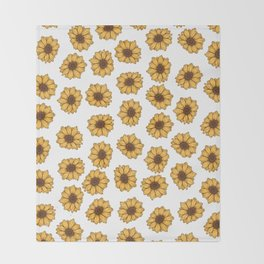 lil' anxious sunflowers Throw Blanket