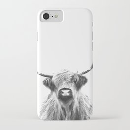 Black and White Highland Cow Portrait iPhone Case