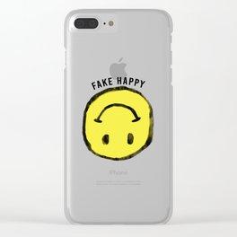 :( F A K E H A P P Y :) Clear iPhone Case