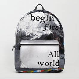 All the world's Great Journeys Motivational Tibetan Proverb With Panoramic View Of Everest Mountain Backpack