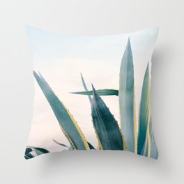 Coastal Agave Cactus Throw Pillow